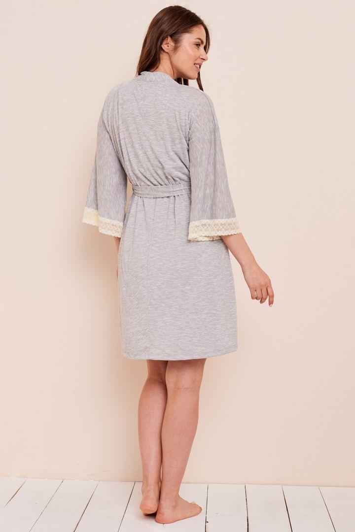 Kimono Umstands-Morgenmantel mit Spitzendetails grau