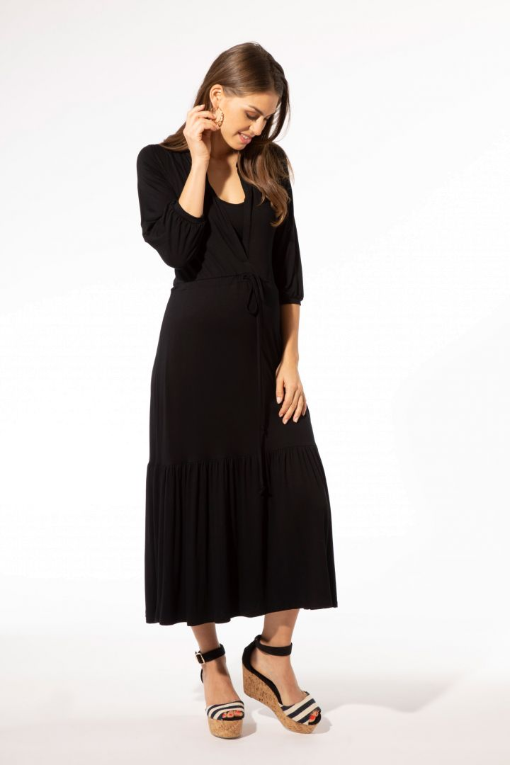 Long Maternity and Nursing Dress made of Bamboo Fibres black