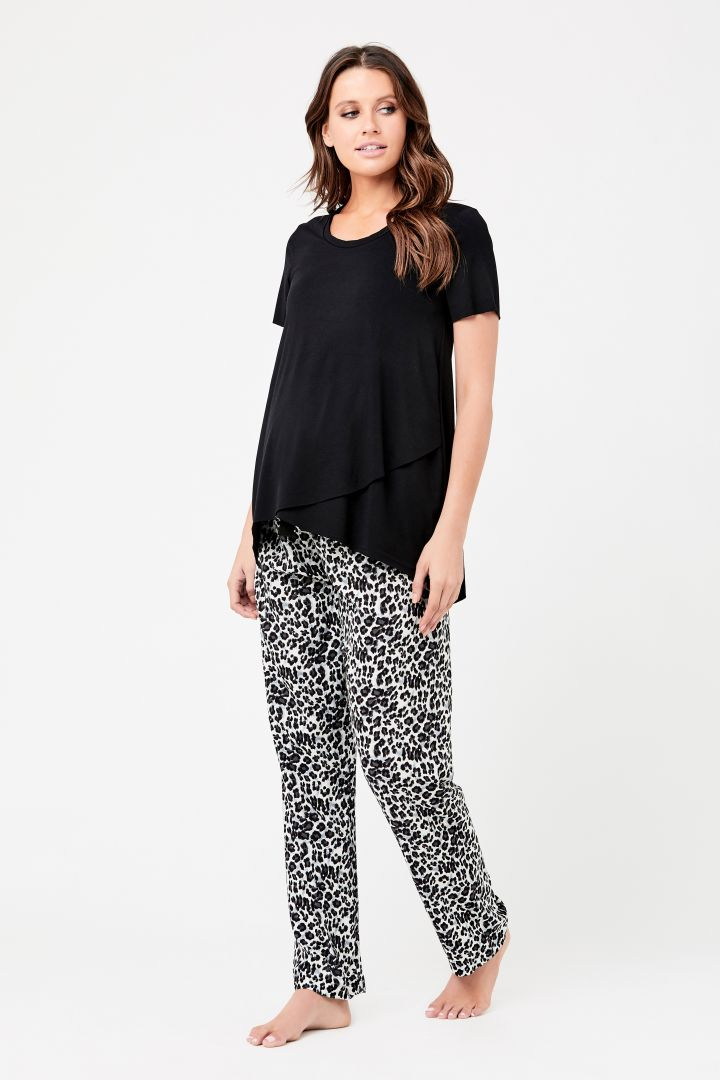 Maternity Pyjama and Lounge Trousers with Leopard Print