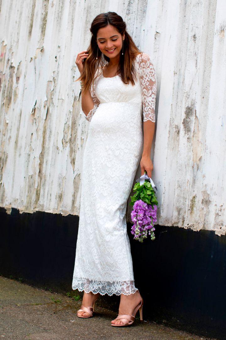 Braut Umstandskleid mit Schärpe lang