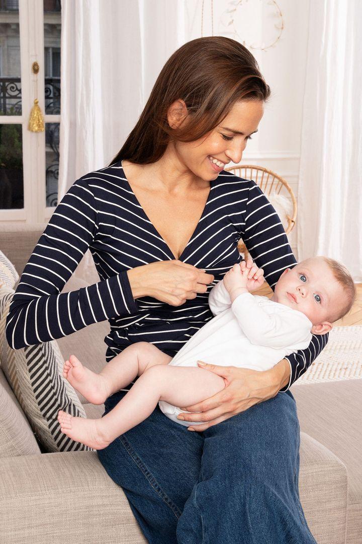 Cross-Over Maternity and Nursing Longsleeve navy/white