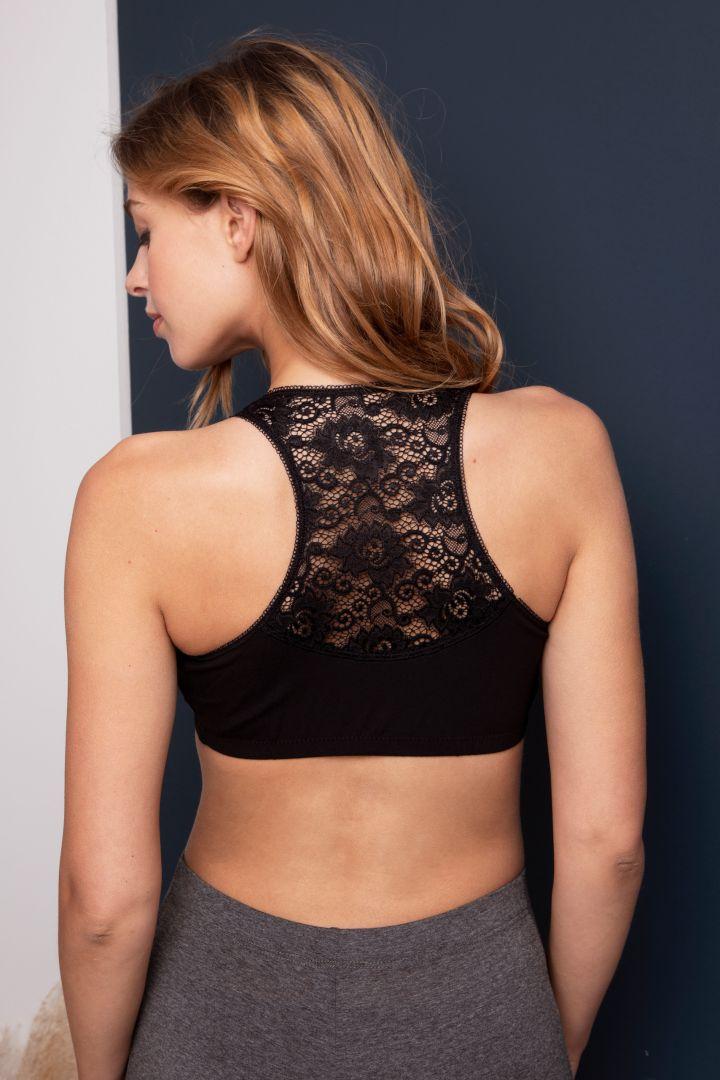 Organic Sleep Nursing Bra with Lace Back black