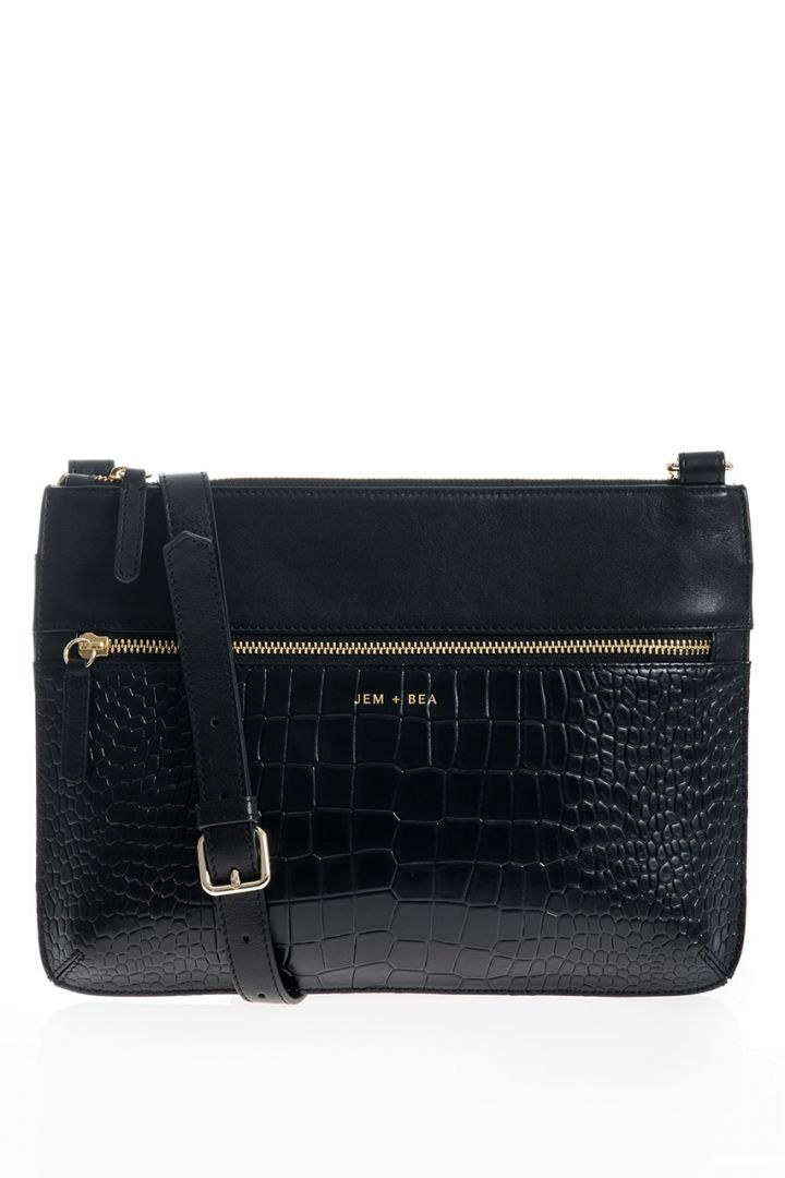Crossbody diaper bag with a crocodile look made of leather, black