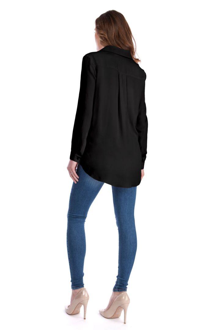 Umstands- und Stillbluse mit Twistdetail schwarz