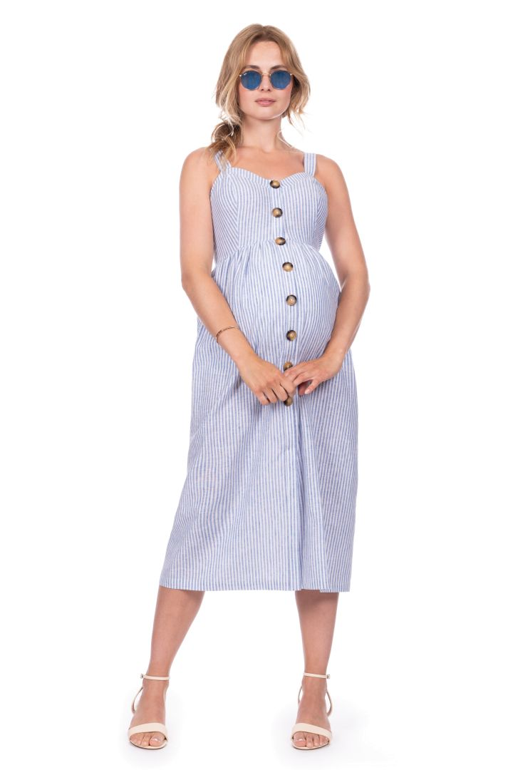 Mid-Length Maternity and Nursing Dress with Button Placket
