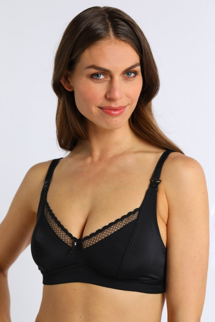 Nursing Bra with Lace Trim black