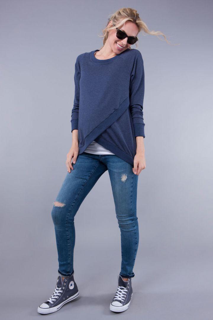 Crossover Nursing Sweater Blue Marl