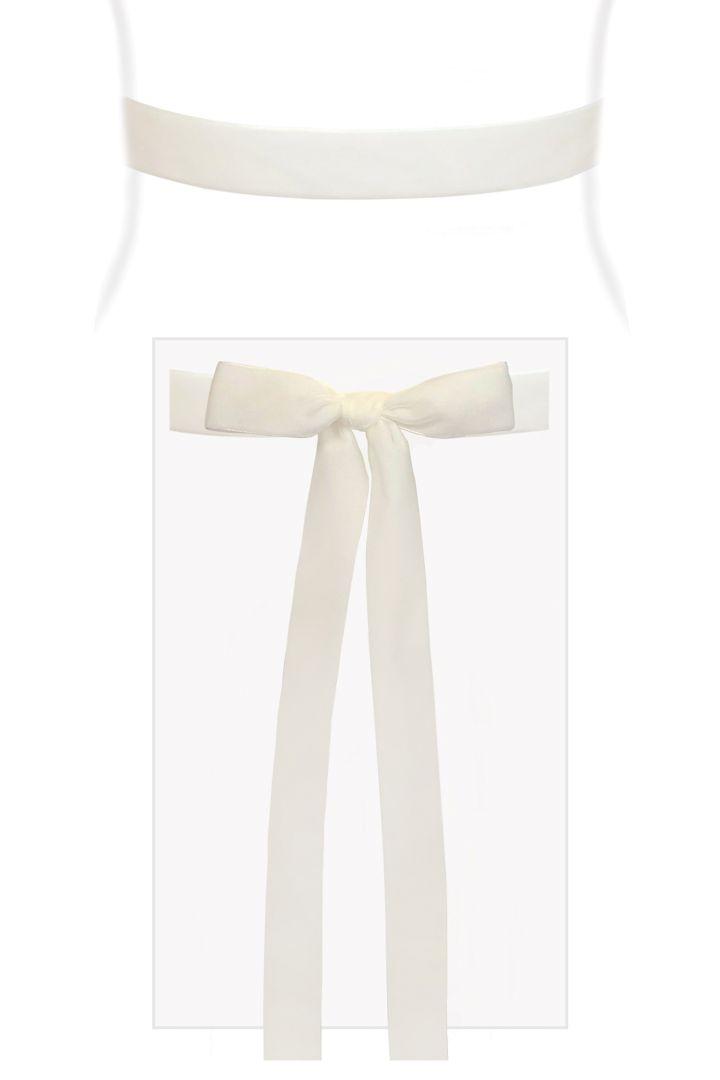Velvet Ribbon Sash (White)