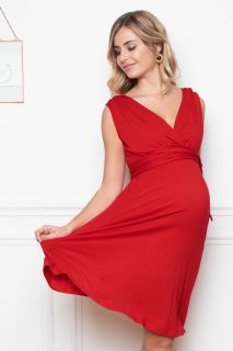 Umstands- und Stillkleid mit Bindegürtel rot