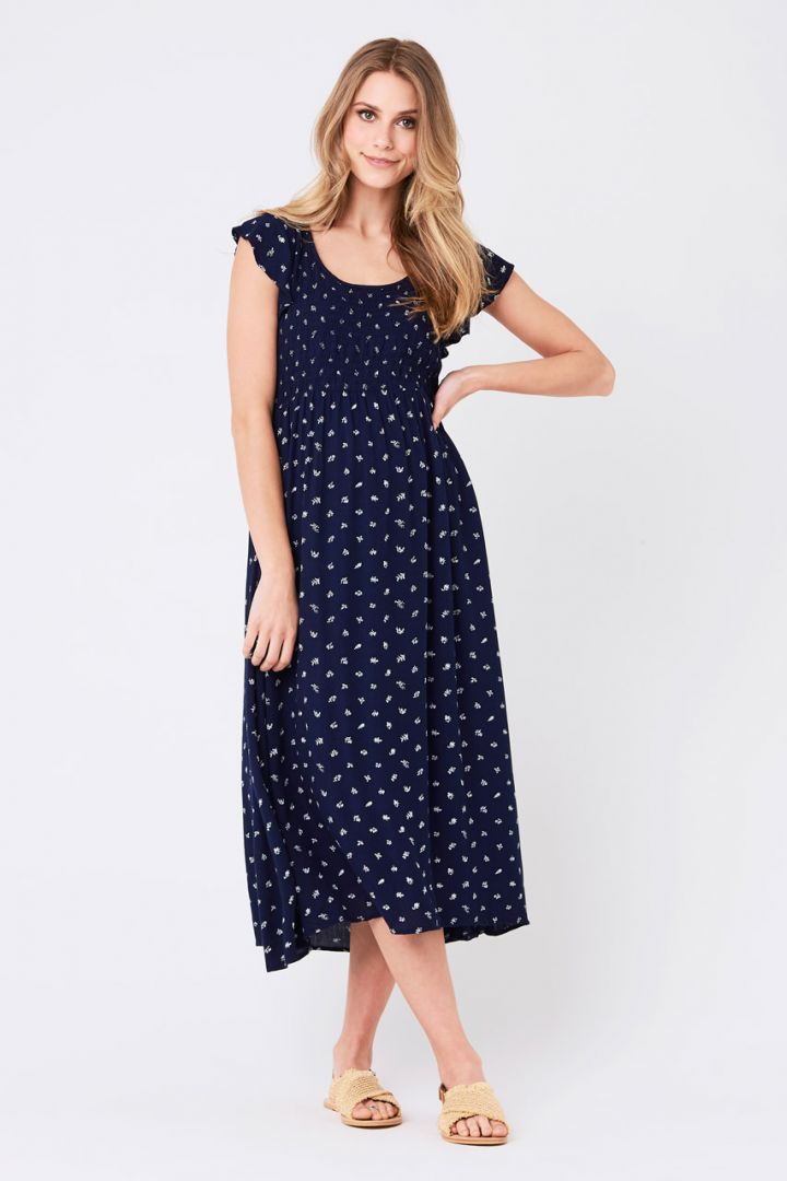 Mid-Length Maternity Dress with Print Design