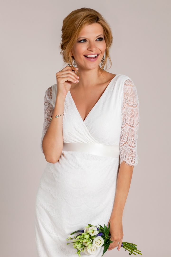 Maternity Wedding Dress with 3/4 Length Sleeves