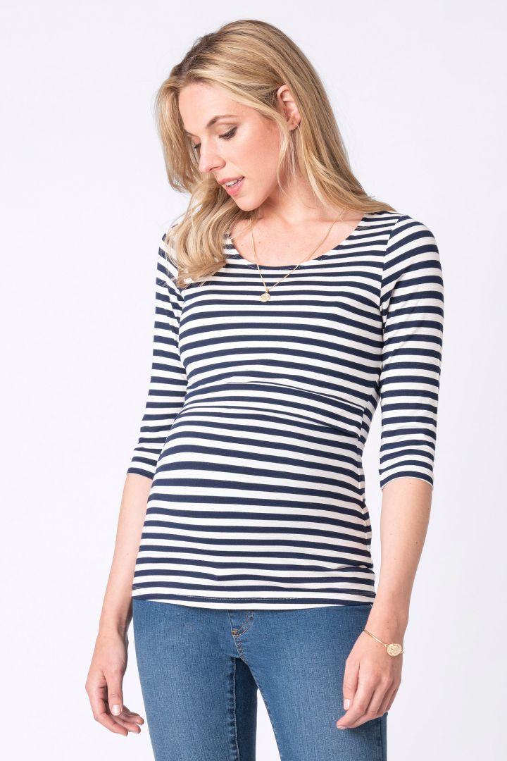 Laina Maternity and Nursing Shirt with Stripes