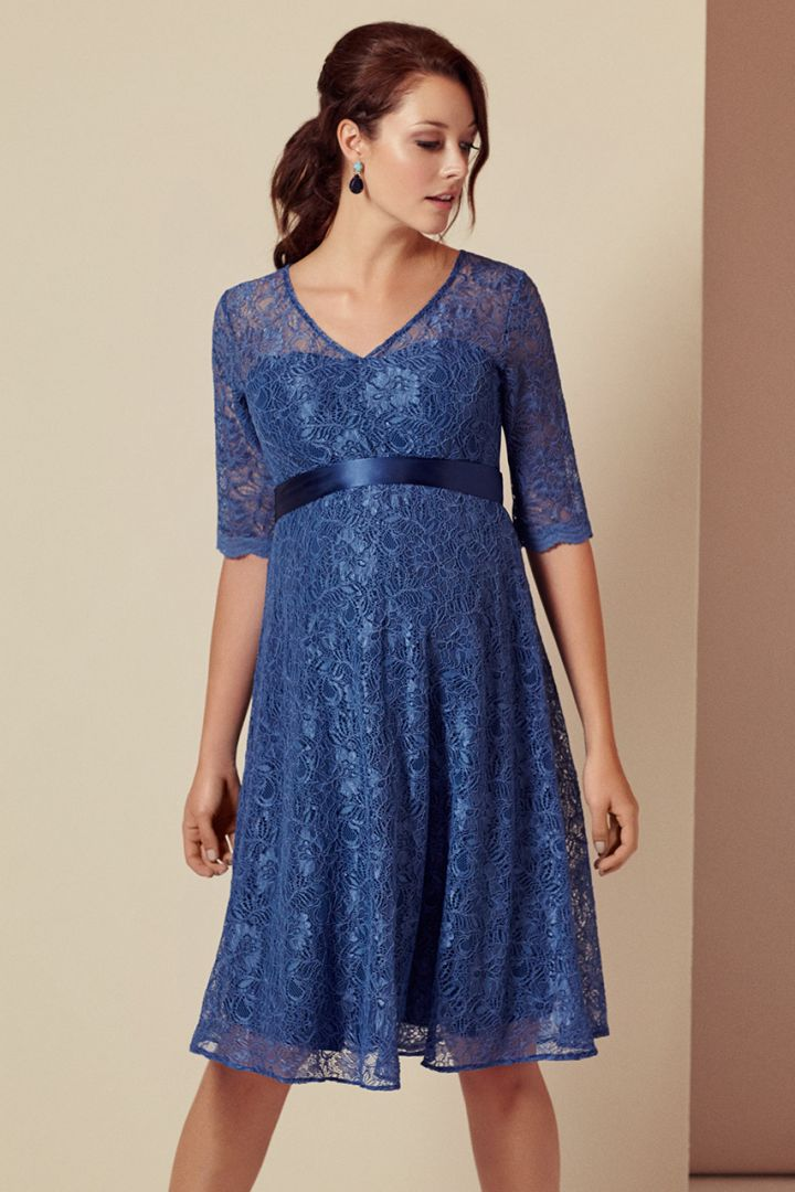 A-Line maternity dress with 3/4 sleeves in blue