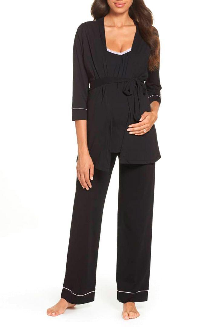 Umstands- und Stillpyjama mit Morgenmantel schwarz