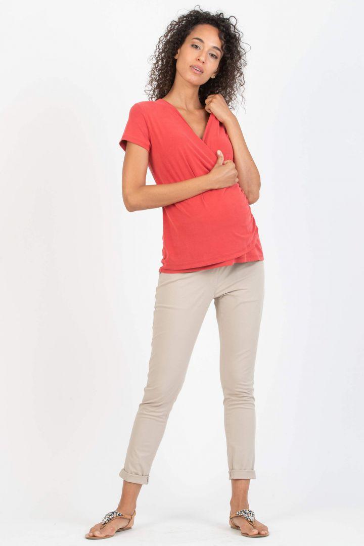 Umstands- und Stillshirt mit Raffungen rot