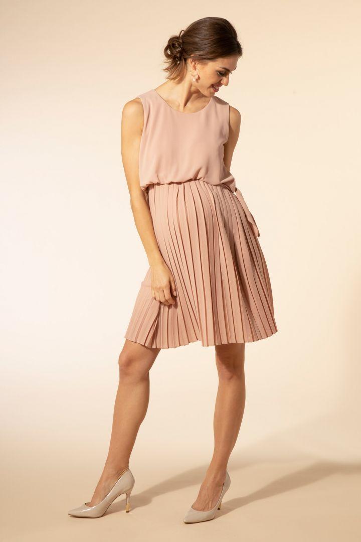 Crepe Umstands- und Stillkleid mit Plissees rosa