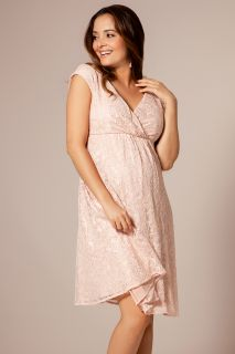 Spitzen Umstandskleid mit Cache Coeur Ausschnitt rosa