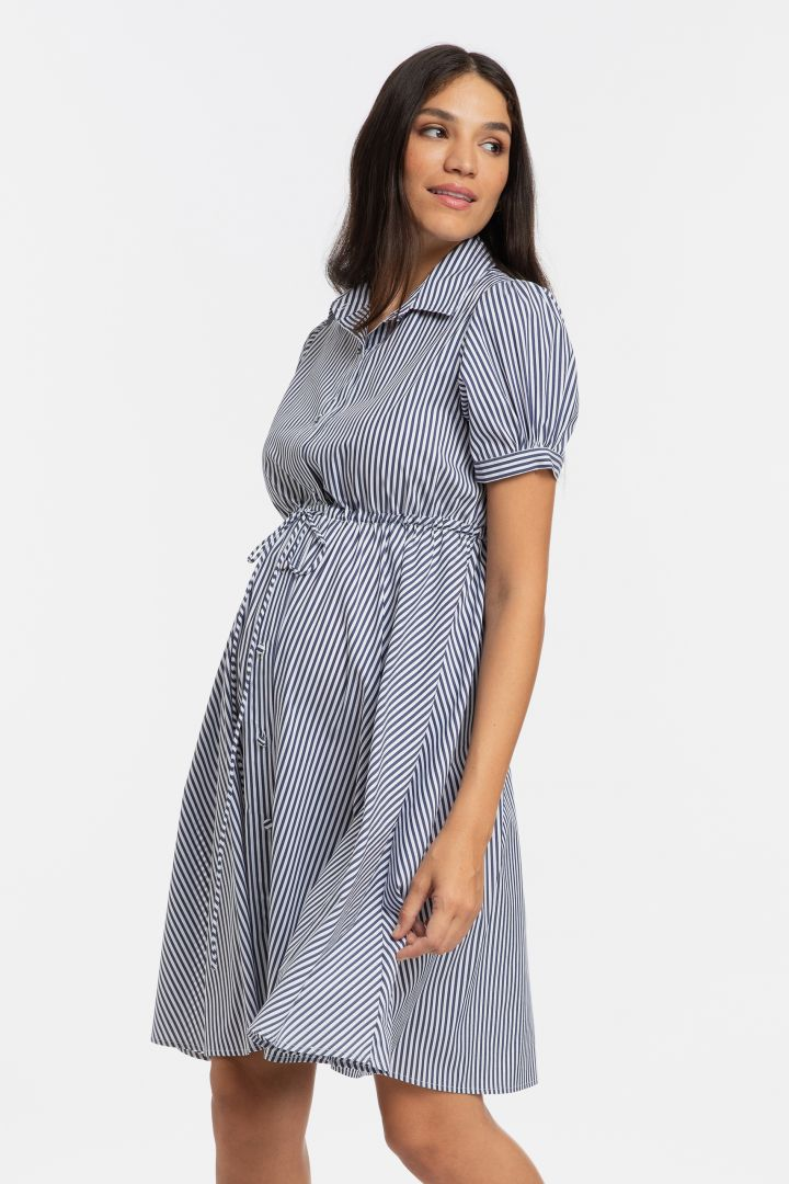 Maternity and Nursing Shirt Dress with Puffed Sleeves