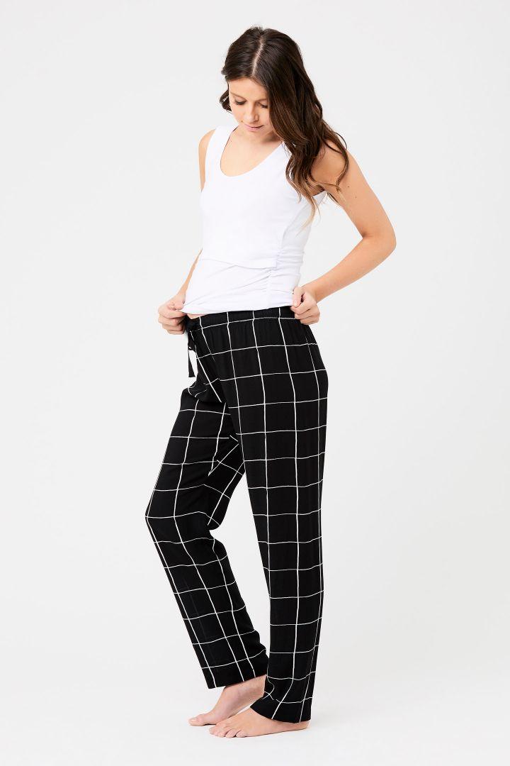 Umstandspyjama- und Loungehose mit Karomuster