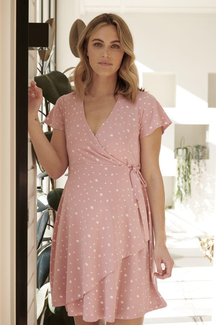 Umstands- und Stillwickelkleid mit Tupfenprint rosa