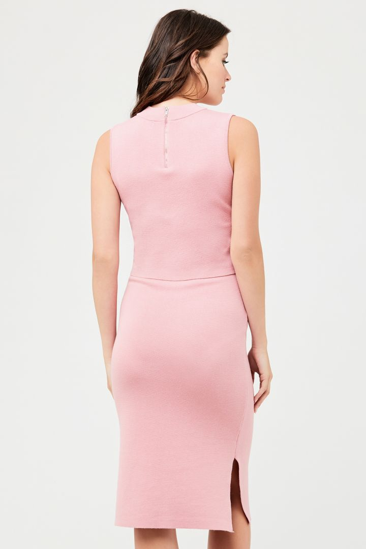 Layered Maternity and Nursing Knitted Dress pink