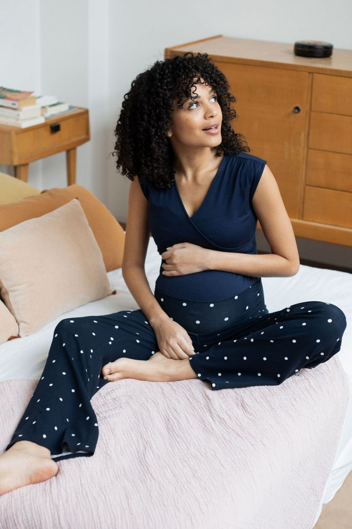 Cross-Over Maternity and Nursing Pyjama with Dots