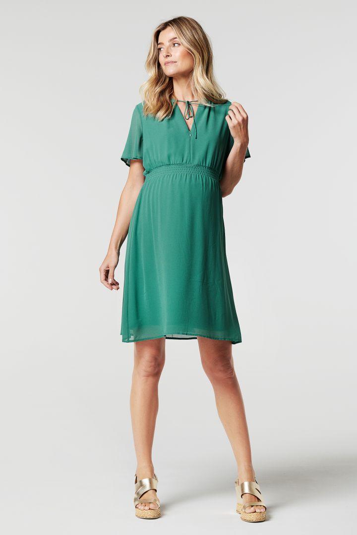 Chiffon Umstands- und Stillkleid grün