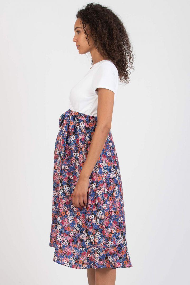 Midi Maternity and Nursing Dress with Flower Print