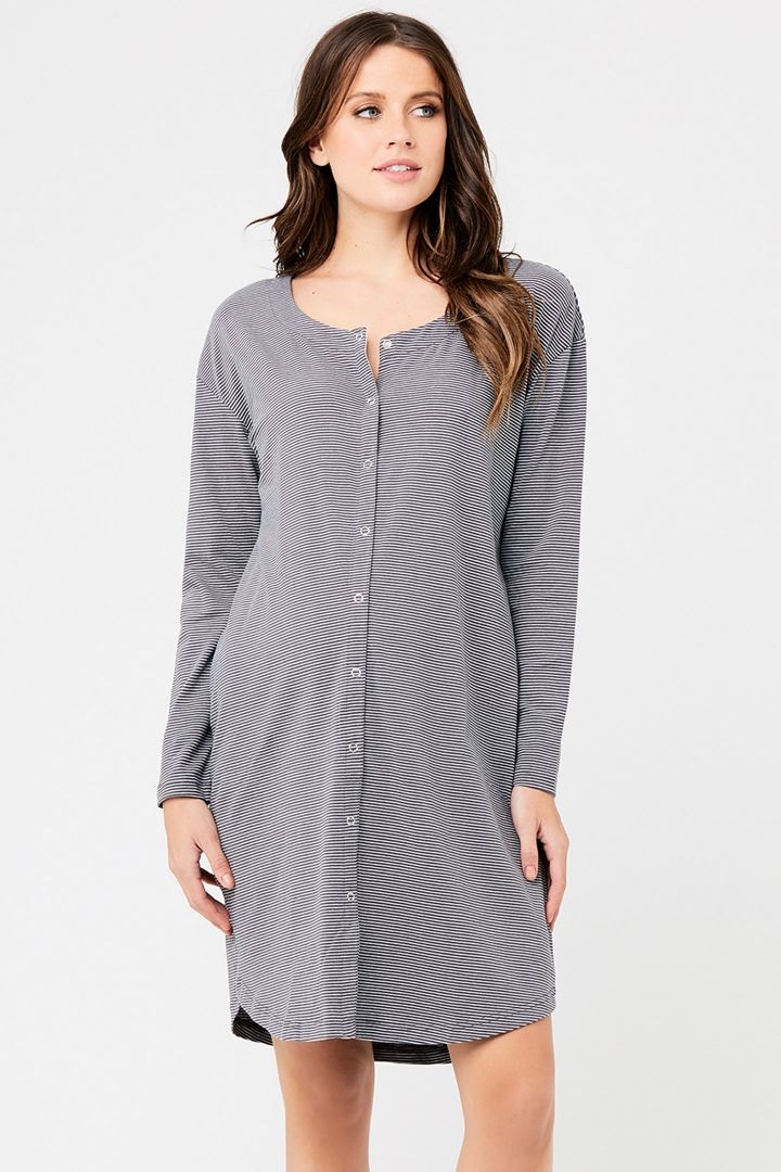 Maternity and nursing nightdress with button strip