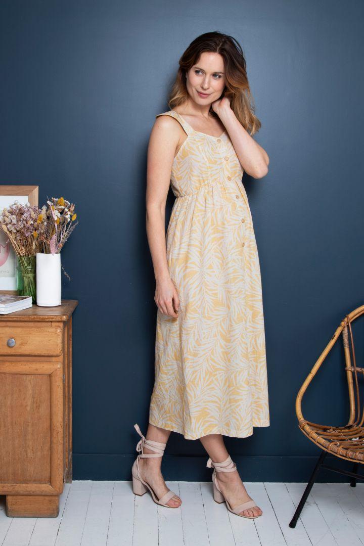 Midi Maternity and Nursing Dress with Jungle Print