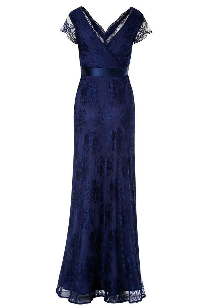 Spitzen Umstandskleid mit Cache-Coeur Ausschnitt lang dunkelblau