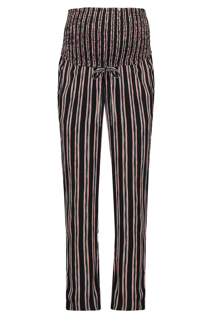 Striped Maternity Trousers with pleated Over-Bump Band black
