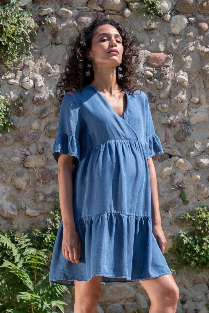 Tencel Maternity Dress in Denim-Look