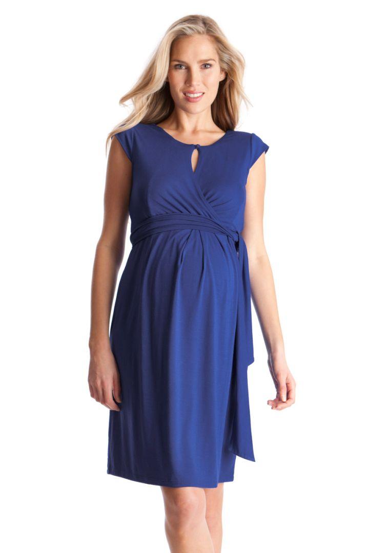 Britney Maternity and Nursing Wrap Dress blue
