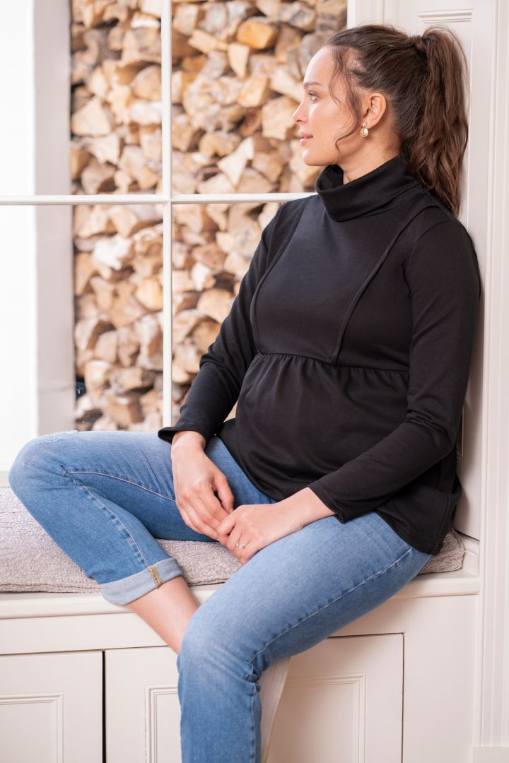 Maternity and Nursing Tunic with Turtleneck