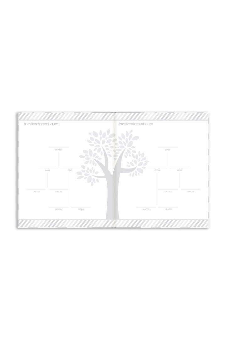 Erinnerungsbuch mit Fototasche und Baby Abdruckset grau