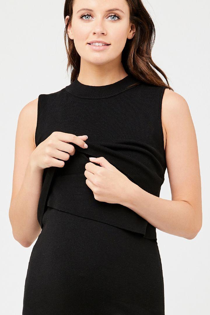 Layered Umstands- und Stillstrickkleid schwarz
