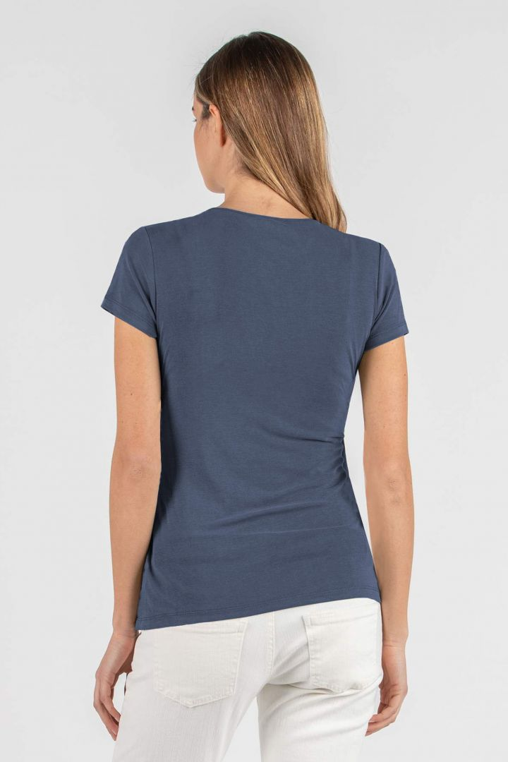 Umstands- und Stillshirt mit Raffungen schieferblau
