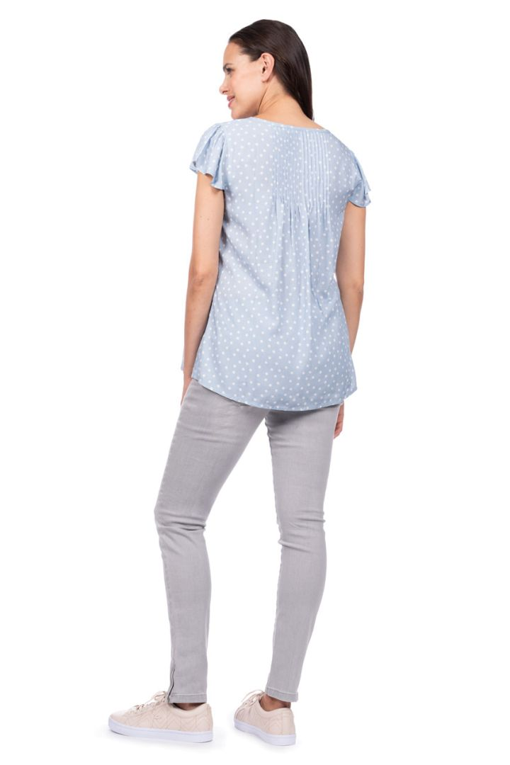 Maternity and Nursing Blouse with Polka-Dot Print, light blue
