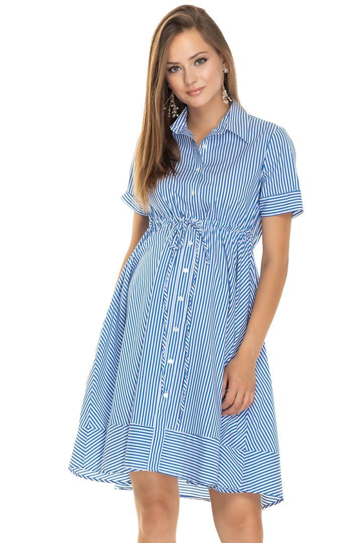 Maternity and Nursing Shirt Dress Blue Stripes