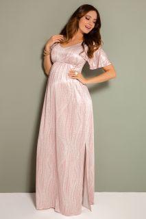 Kimono Maxi Umstandskleid rosa/weiß