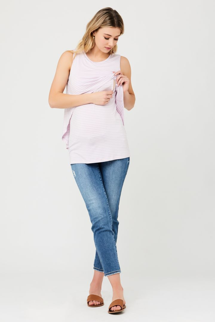 Double-Layered Maternity and Nursing Top white/lilac