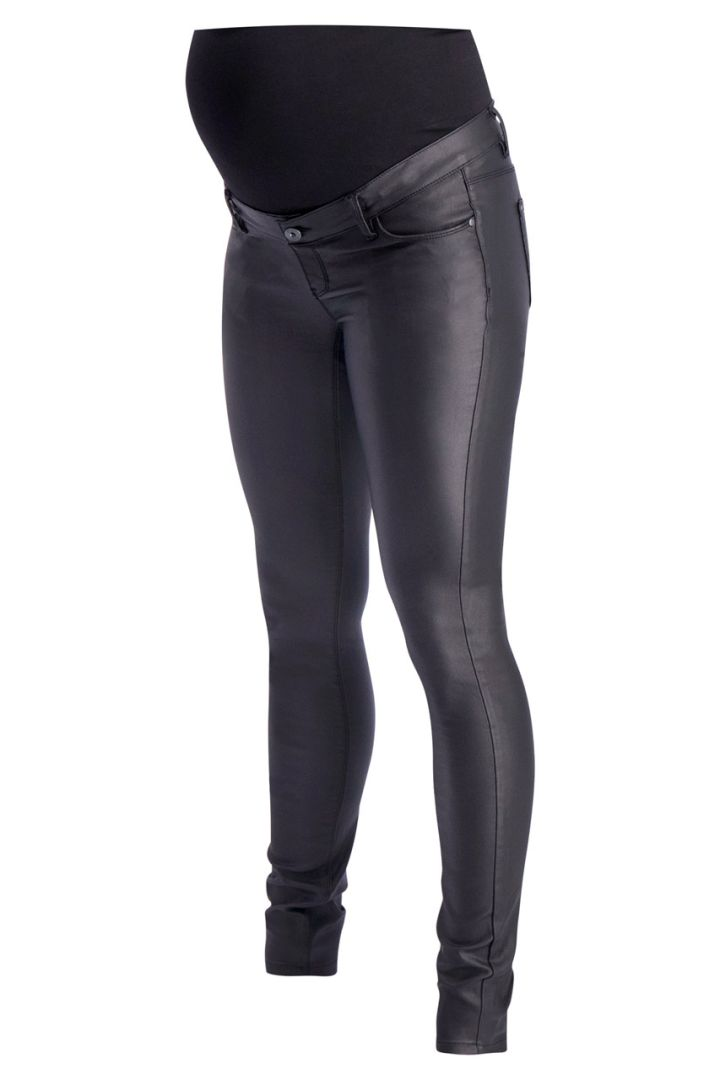 Maternity trousers in leather style black