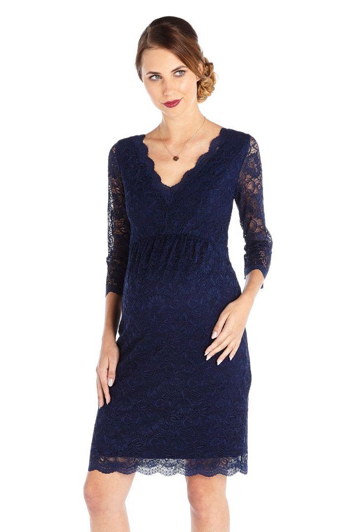 Maternity Lace Dress dark blue