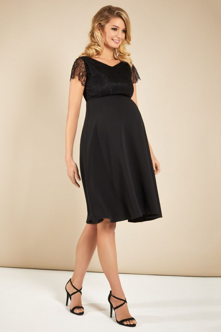 Maternity dress with lace top, black