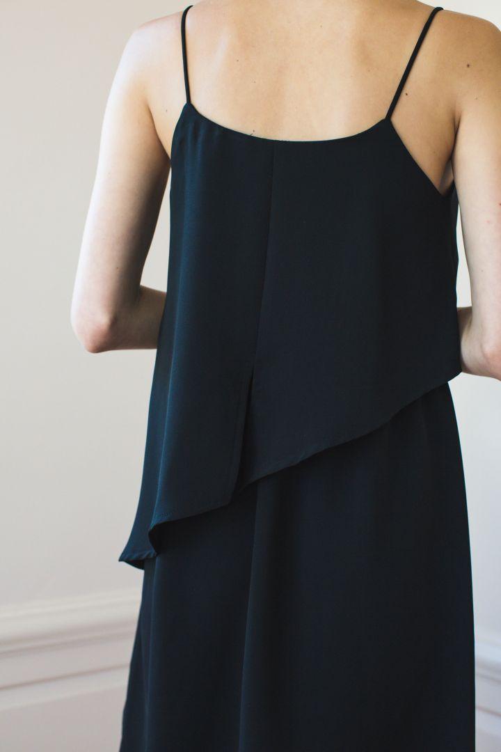 Maternity Dress with Asymmetrical Nursing Layer black