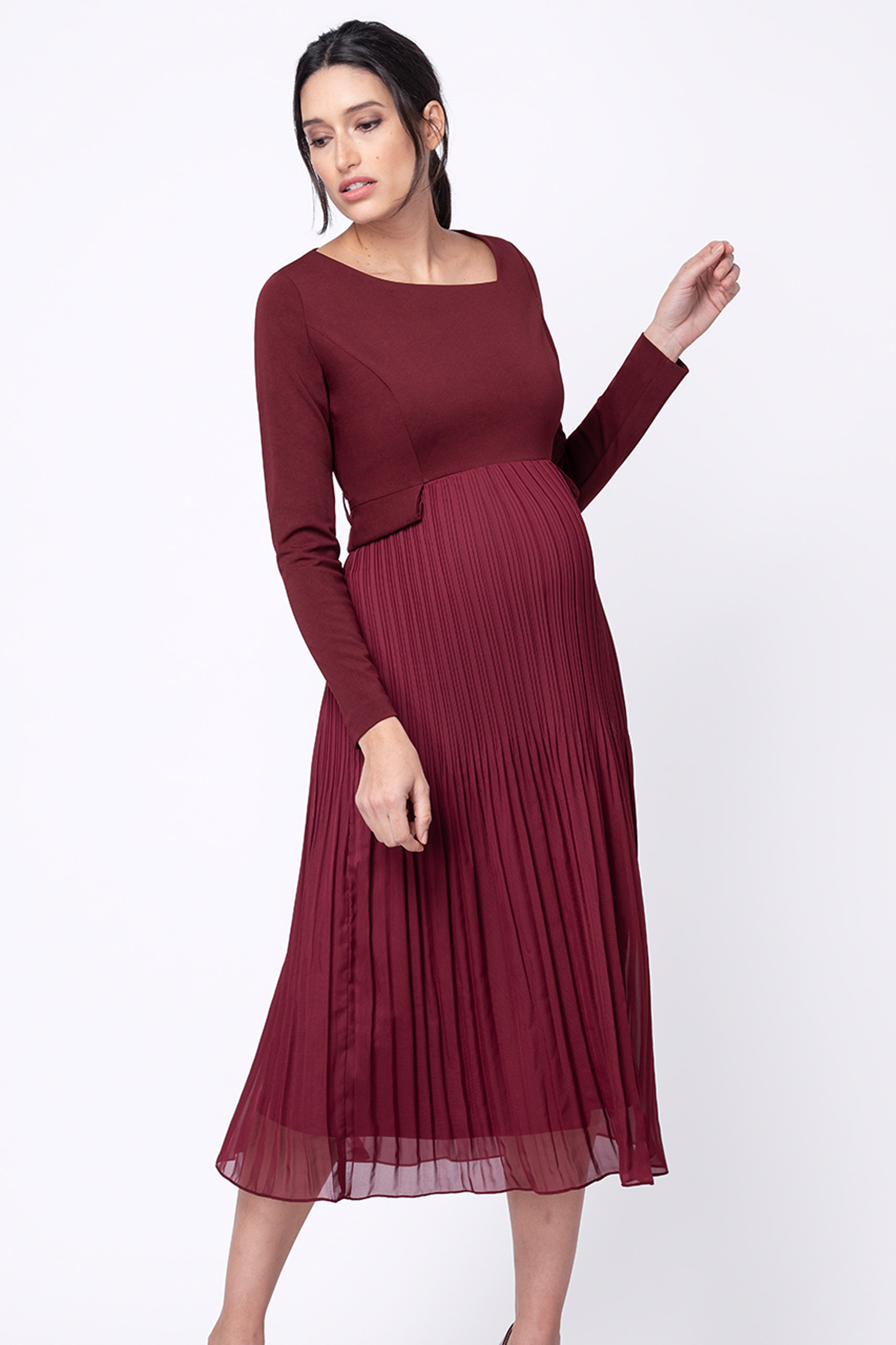 Midi maternity dress with pleated skirt, bordeaux  NEW IN