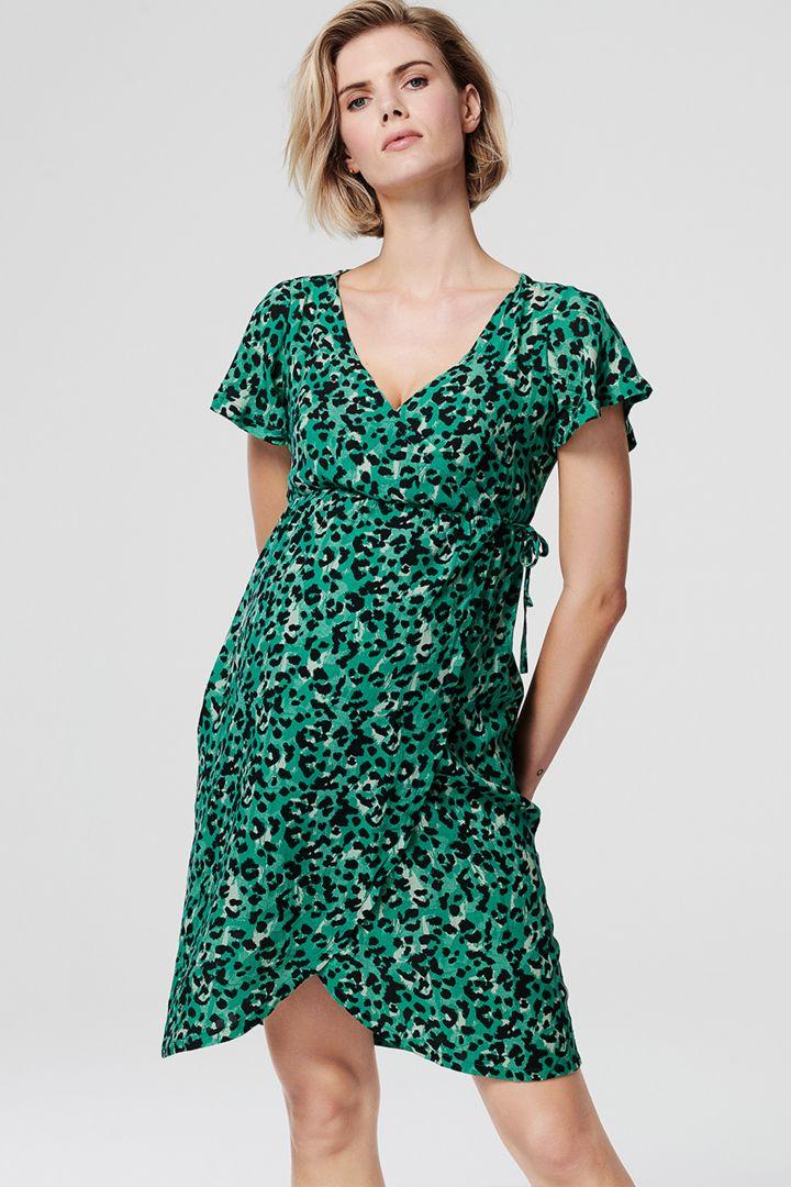 Maternity and Nursing Wrap Dress Leopard