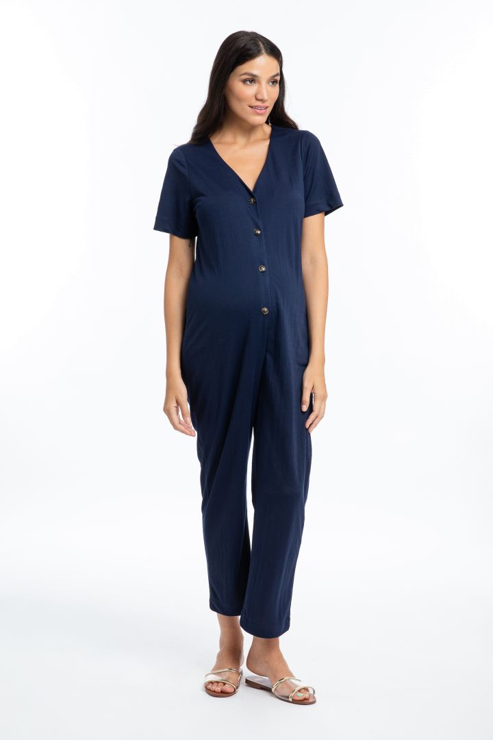 Maternity and Nursing Jumpsuit with Button Strip navy