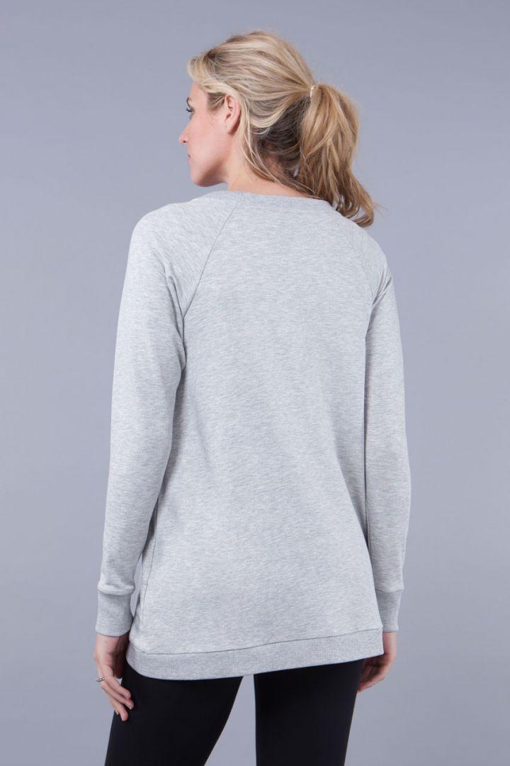 Umstands- und Stillsweater mit Crossover Saum grau